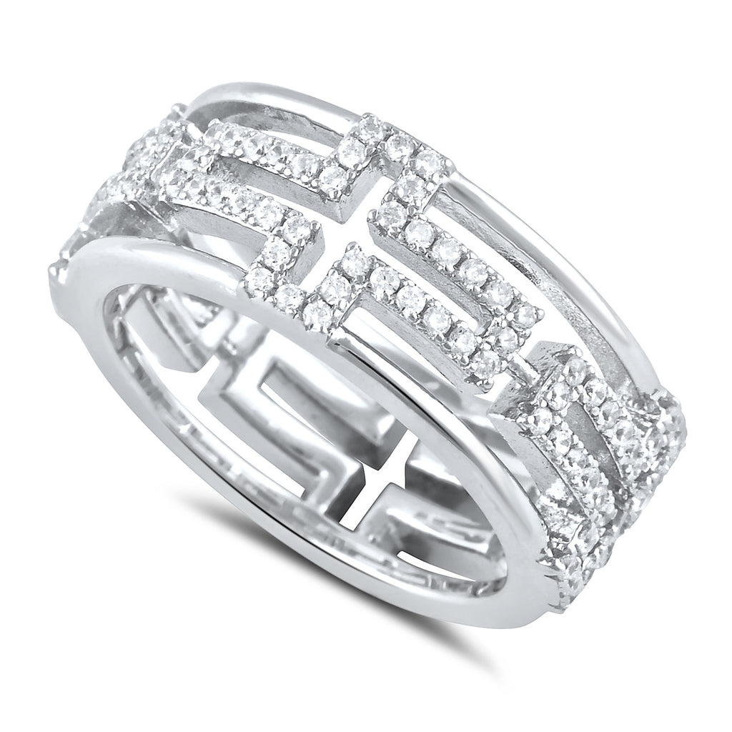 Sterling Silver Cross Eternity Cz Ring - SilverCloseOut - 1