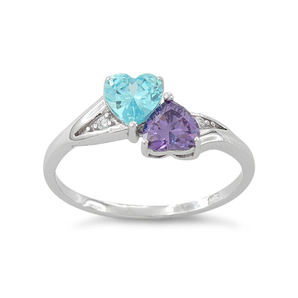 Sterling Silver Simulated Blue Topaz & Simualted Amethyst Heart Ring - SilverCloseOut - 2