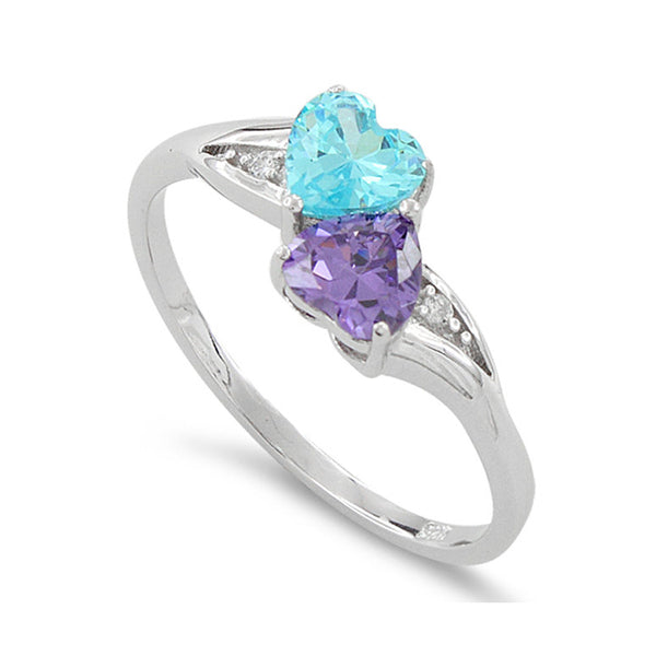 Sterling Silver Simulated Blue Topaz & Simualted Amethyst Heart Ring - SilverCloseOut - 1