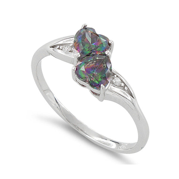 Sterling Silver Simulated Rainbow Topaz Double Heart Ring - SilverCloseOut - 1
