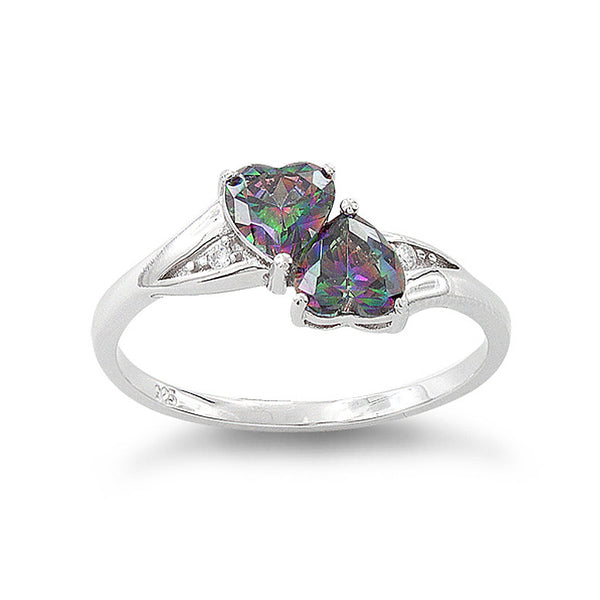 Sterling Silver Simulated Rainbow Topaz Double Heart Ring - SilverCloseOut - 2