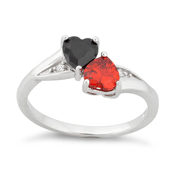 Sterling Silver Black & Red Cz Double Heart Ring - SilverCloseOut - 2