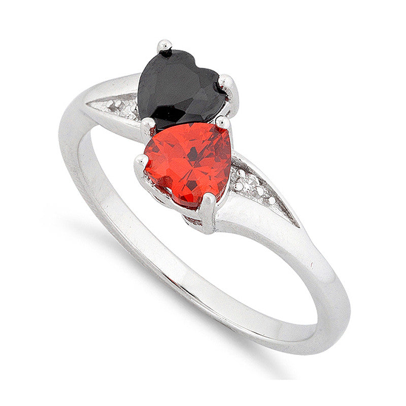 Sterling Silver Black & Red Cz Double Heart Ring - SilverCloseOut - 1