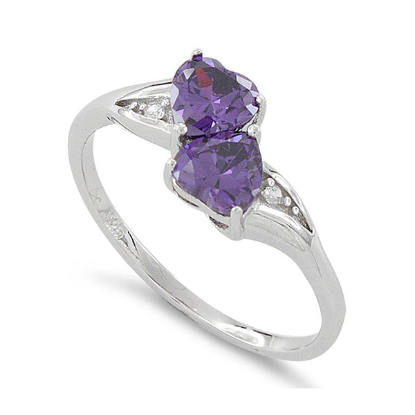 Sterling Silver Simulated Amethyst Double Heart Ring - SilverCloseOut - 1