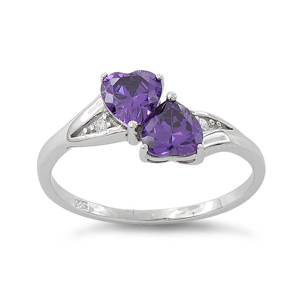 Sterling Silver Simulated Amethyst Double Heart Ring - SilverCloseOut - 2