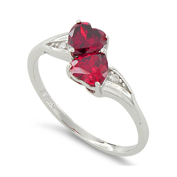 Sterling Silver Simulated Ruby Double Heart Ring - SilverCloseOut - 1