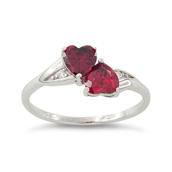 Sterling Silver Simulated Ruby Double Heart Ring - SilverCloseOut - 2