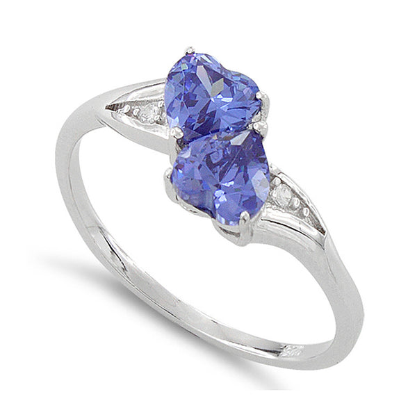Sterling Silver Simulated Tanzanite Double Heart Ring - SilverCloseOut - 1