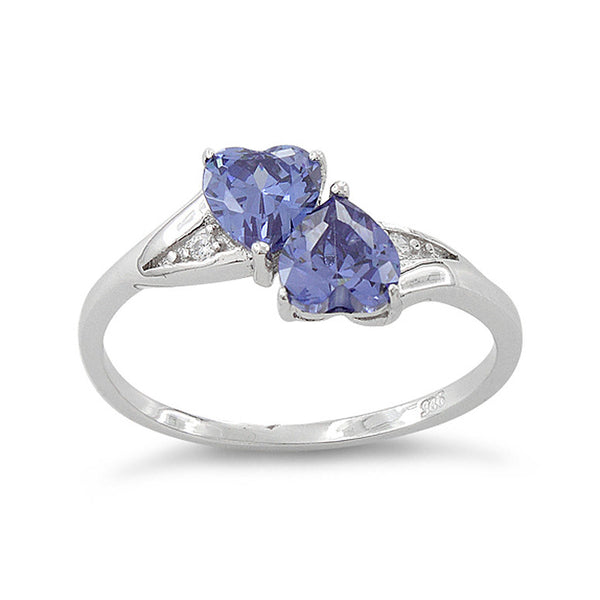 Sterling Silver Simulated Tanzanite Double Heart Ring - SilverCloseOut - 2