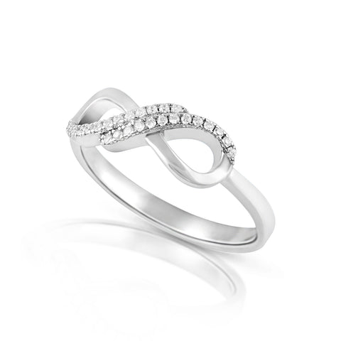 Sterling Silver Simulated Diamond Infinity Ring - SilverCloseOut - 1