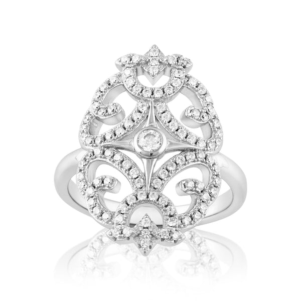 Sterling Silver Simulated Diamond Filigree Cocktail Ring - SilverCloseOut - 2