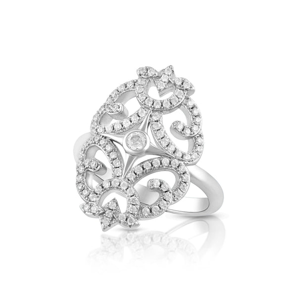 Sterling Silver Simulated Diamond Filigree Cocktail Ring - SilverCloseOut - 1