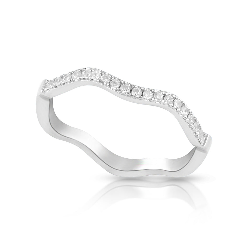 Sterling Silver Simulated Diamond Stackable wave Ring - SilverCloseOut - 1
