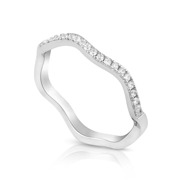 Sterling Silver Simulated Diamond Stackable wave Ring - SilverCloseOut - 2