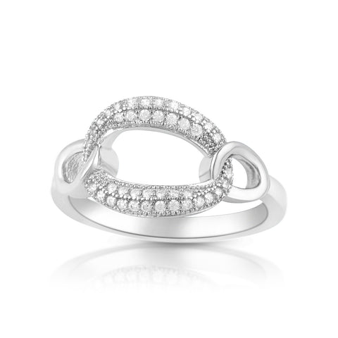 Sterling Silver Simulated Diamond Oval Chain Link Ring - SilverCloseOut - 1