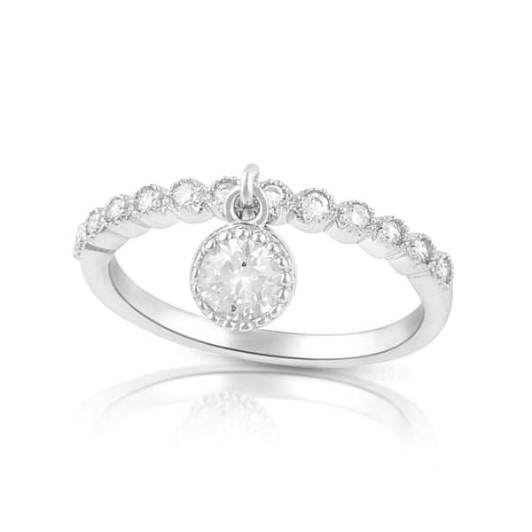 Sterling Silver Thin Stackable Dangling Charm Cz Ring - SilverCloseOut - 2
