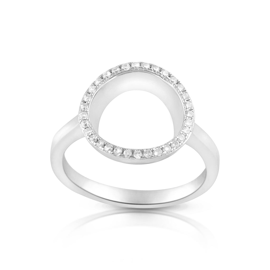 Sterling Silver Simulated Diamond O Circle Ring - SilverCloseOut - 1