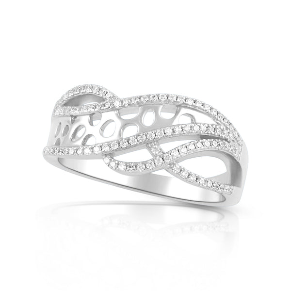 Sterling Silver Simulated Diamond Free Form Art Ring - SilverCloseOut - 2