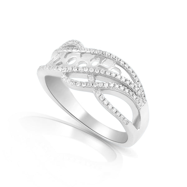 Sterling Silver Simulated Diamond Free Form Art Ring - SilverCloseOut - 1