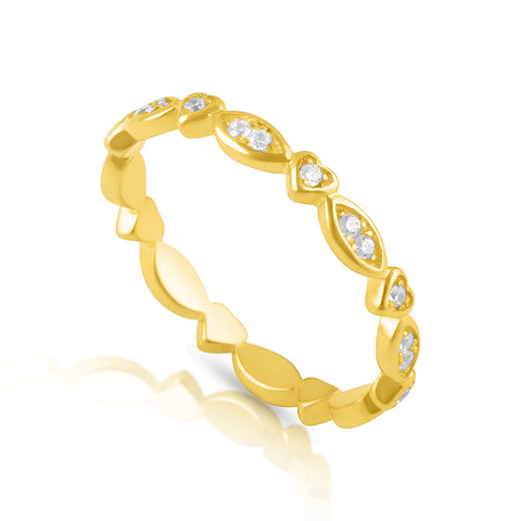 Gold Tone Sterling Silver Heart Eternity Ring - SilverCloseOut - 1