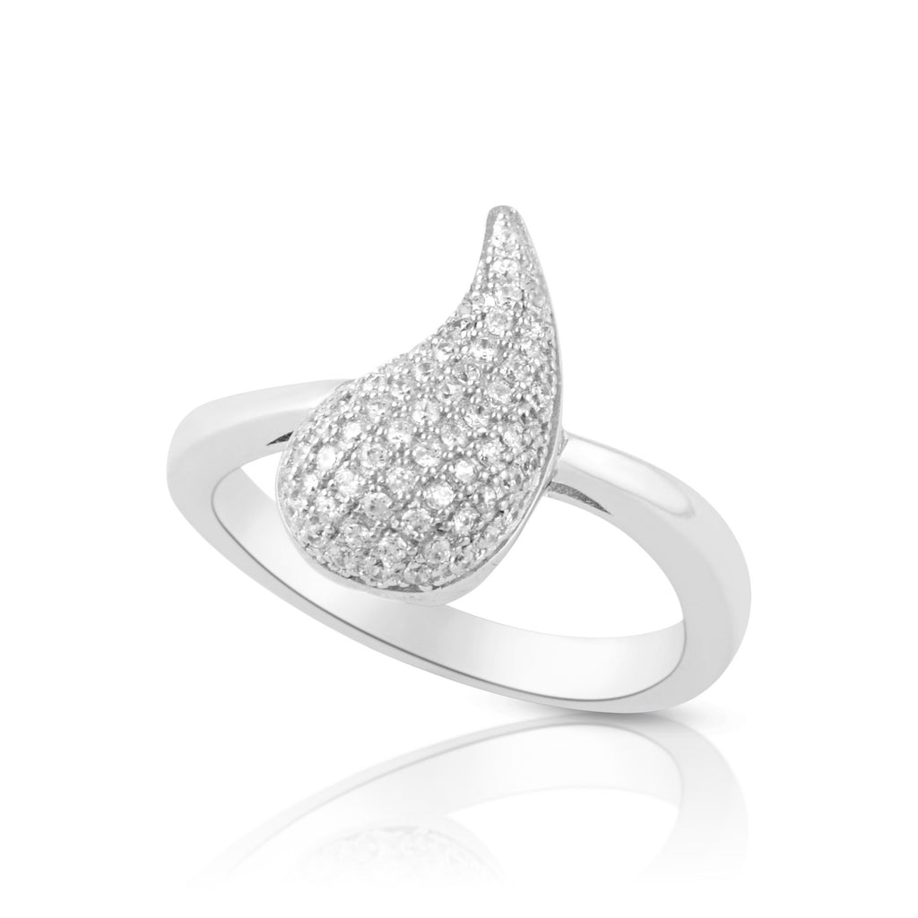 Sterling Silver Simulated Diamond Tear Drop comma Ring - SilverCloseOut - 1