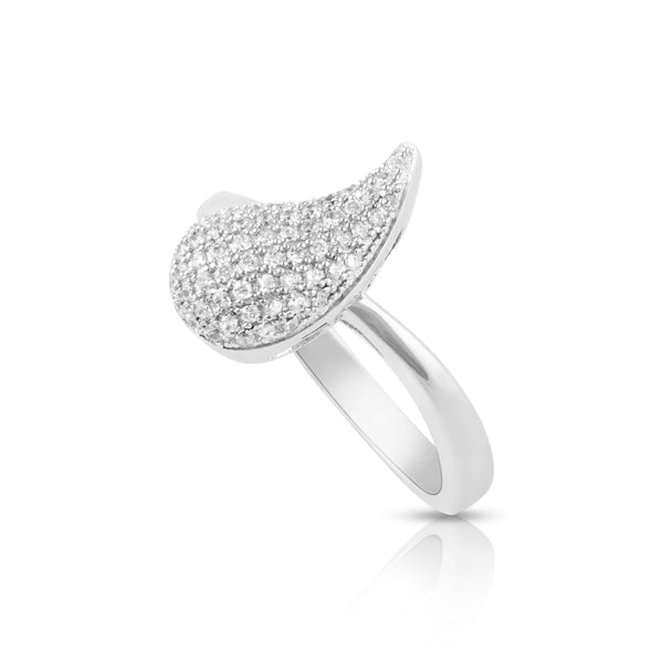 Sterling Silver Simulated Diamond Tear Drop comma Ring - SilverCloseOut - 3