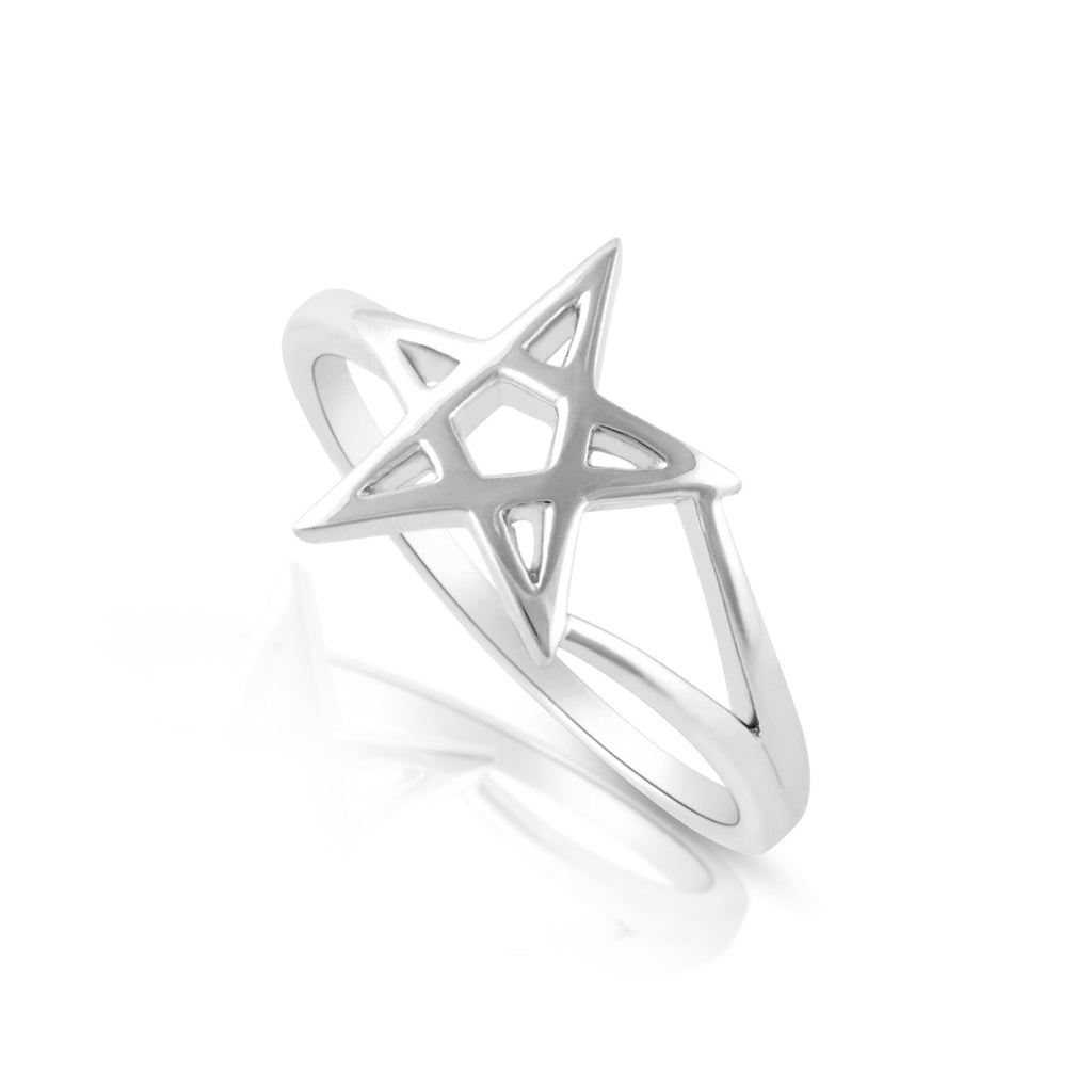Sterling Silver Pentagram Star Ring - SilverCloseOut - 1