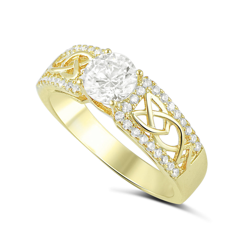 Yellow Gold Tone Sterling Silver Simulated Diamond Celtec Ring - SilverCloseOut - 1