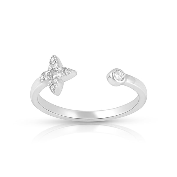 Sterling Silver Thin Stackable Open Face Star Cz Ring - SilverCloseOut - 2