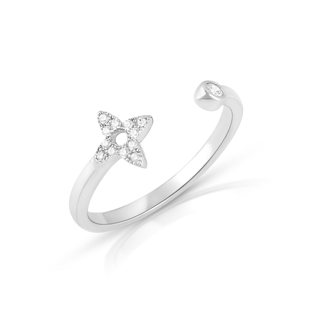 Sterling Silver Thin Stackable Open Face Star Cz Ring - SilverCloseOut - 1