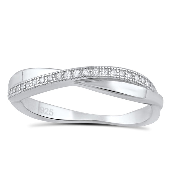 Sterling Silver Cz Thin Stackable CrissCross X Ring - SilverCloseOut - 2