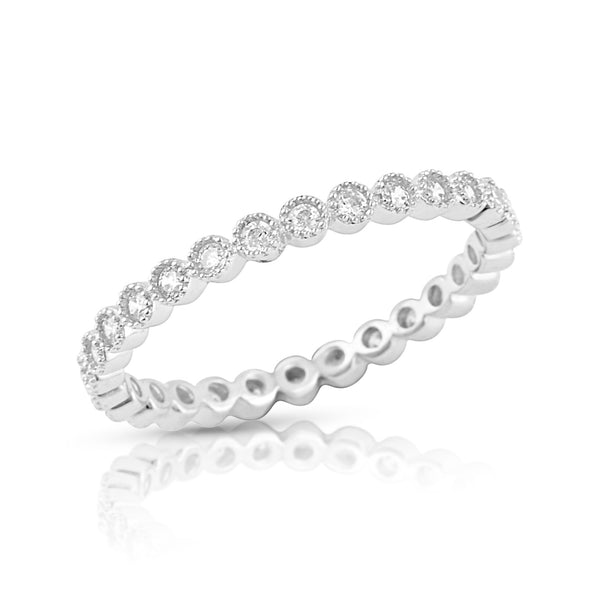 Sterling Silver Simulated Diamond Stackable Eternity Ring - SilverCloseOut - 2