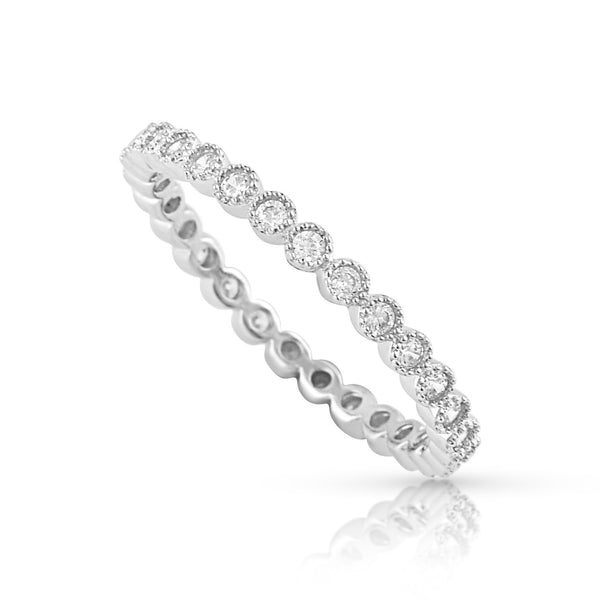 Sterling Silver Simulated Diamond Stackable Eternity Ring - SilverCloseOut - 1
