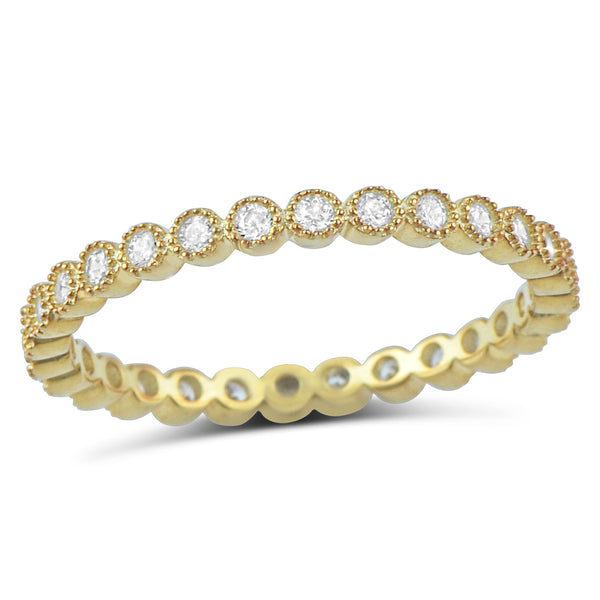 Yellow Gold Tone Sterling Silver Simulated Diamond Stackable Eternity Ring - SilverCloseOut - 1