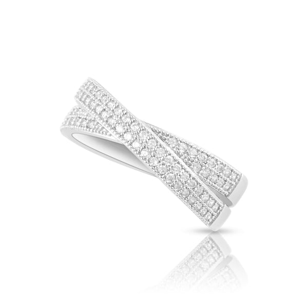 Sterling Silver Simulated Diamond CrissCross X Ring - SilverCloseOut - 1