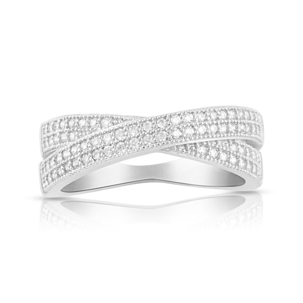 Sterling Silver Simulated Diamond CrissCross X Ring - SilverCloseOut - 2