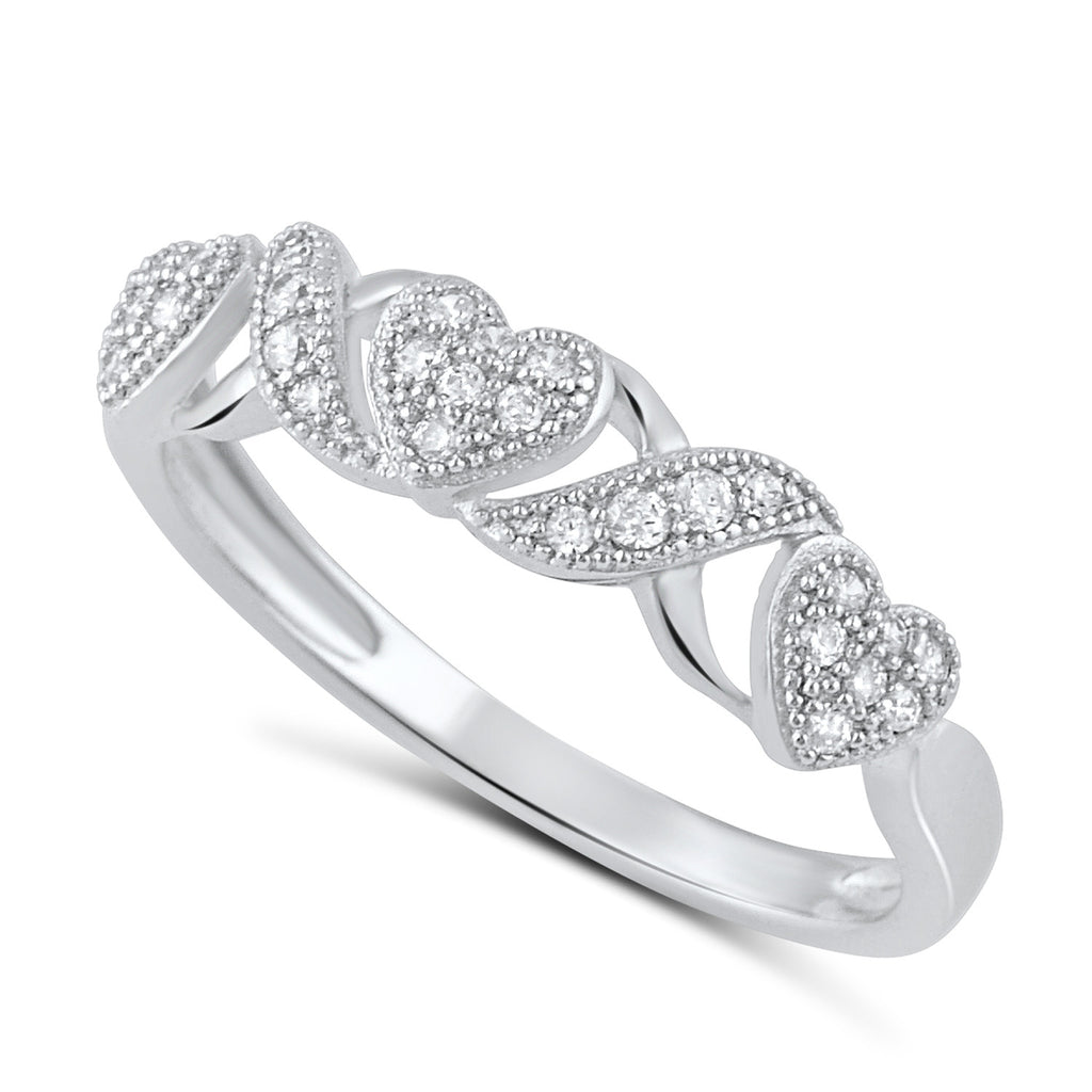 Sterling Silver Cz Thin XO Heart Stackable Ring - SilverCloseOut - 1