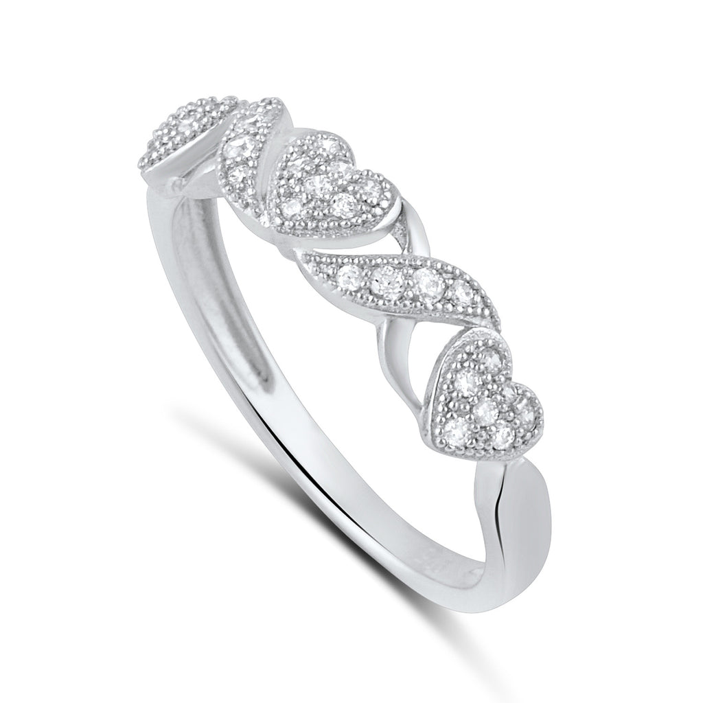 Sterling Silver CZ Heart Stackable Ring 4hUlg