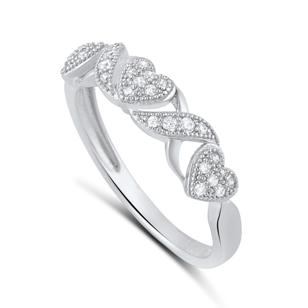 Sterling Silver Cz Thin XO Heart Stackable Ring - SilverCloseOut - 2