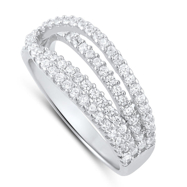 Sterling Silver Simulated Diamond Lovers Knot Ring - SilverCloseOut - 2