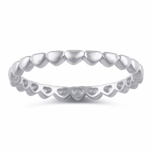 Sterling Silver Repeating Heart Thin Eternity Ring - SilverCloseOut - 2