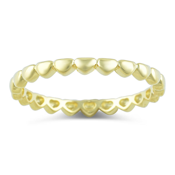 Gold Tone Sterling Silver Repeating Heart Thin Eternity Ring - SilverCloseOut - 2