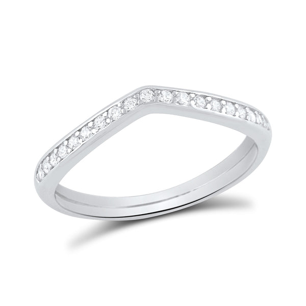 Sterling Silver Simulated Diamond Thin V shaped Ring - SilverCloseOut - 2