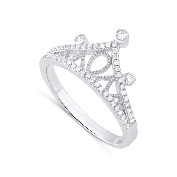 Sterling Silver Simulated Diamond Crown Ring - SilverCloseOut - 2