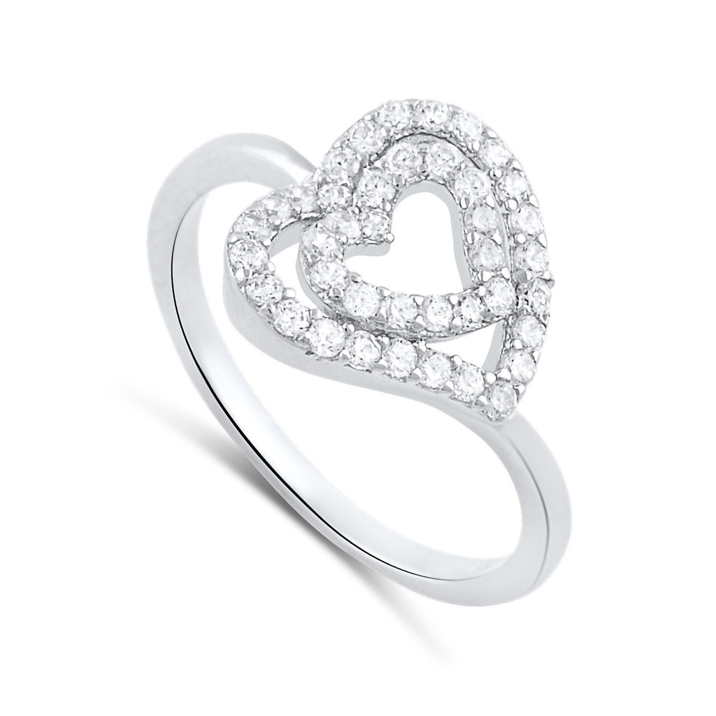 Sterling Silver Cz Sideways Heart Ring - SilverCloseOut - 1