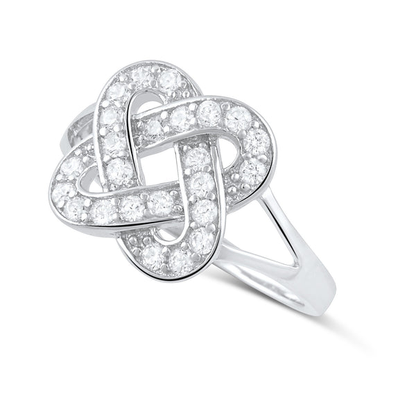 Sterling Silver Cz Lovers Knot Ring - SilverCloseOut - 1