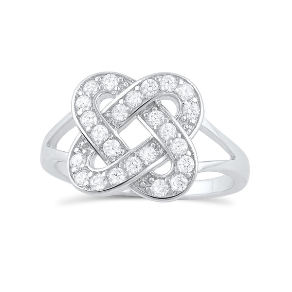 Sterling Silver Cz Lovers Knot Ring - SilverCloseOut - 2