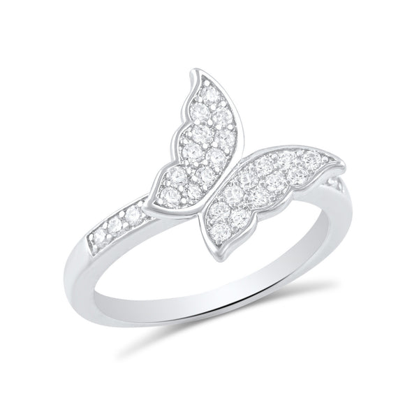 Sterling Silver Simulated Diamond Butterfly Ring - SilverCloseOut - 1