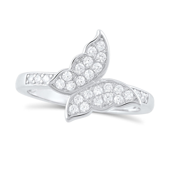 Sterling Silver Simulated Diamond Butterfly Ring - SilverCloseOut - 2