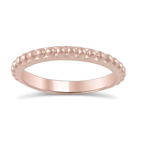 Rose Gold Tone Sterling Silver Stackable Bead Eternity Ring  2.5mm - SilverCloseOut - 1